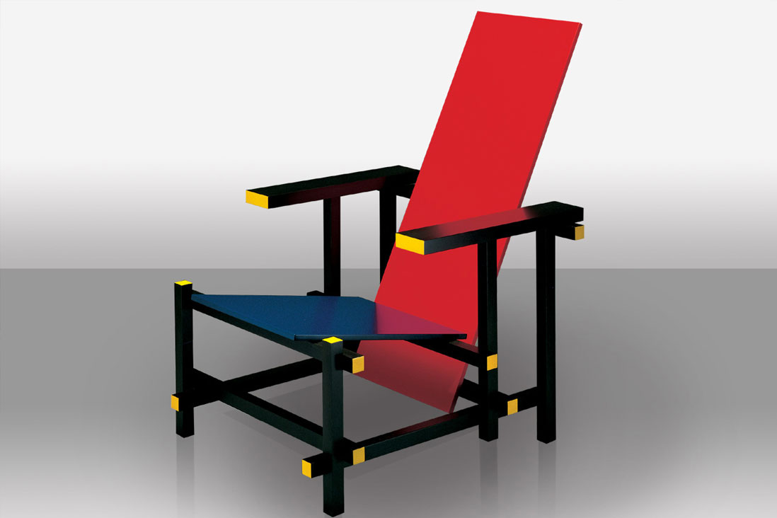 Red and blue cassina italy interior design - Rot blauer stuhl ...
